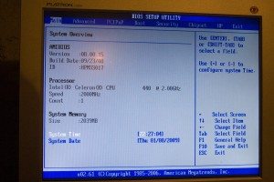 BIOS Main page
