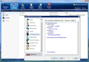 Backups list and the version of the new software