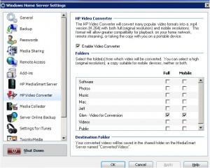 HP Video Converter settings tab