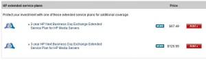 HP MediaSmart Server Extended Warranty Options