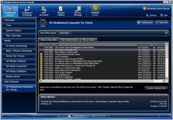 HP MediaSmart Expander For TiVo DVR View