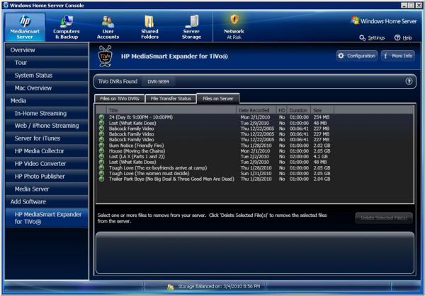 HP MediaSmart Expander For TiVo Server View