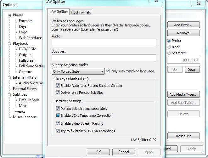 Guide: Setting Up LAV Filters + MPC HC For All Your Splitter And