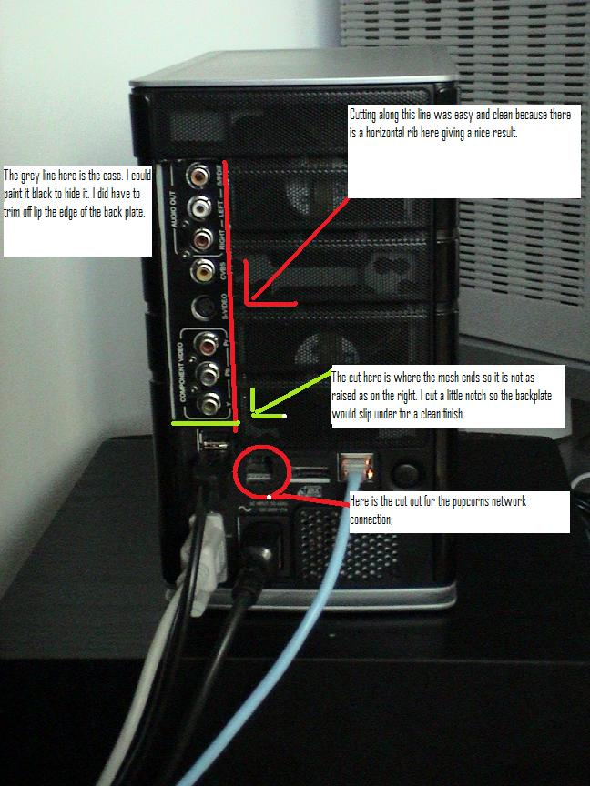 Annotated image of the modification